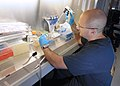 US Navy 111215-N-PO203-033 Lt. Denis Colomb, principal investigator with Navy Experimental Diving Unit, prepares cell cultures.jpg