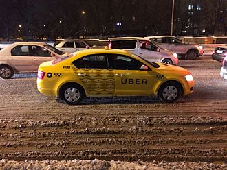 Uber (company) - Yellow Uber car in Moscow, Russia