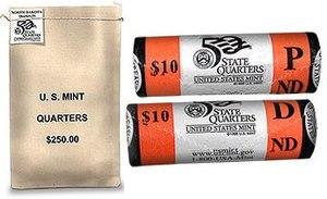 Uncirculated coin - A 1000 uncirculated U.S. mint Quarter-Dollar coin bag and two Unc U.S. mint $10 (40 quarter) rolls