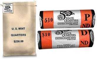 Uncirculated coin - A 1000 uncirculated U.S. mint Quarter-Dollar coin bag and two Unc U.S. mint $10 (40 quarter) rolls