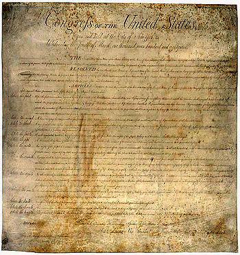 Deutsch: Bill of Rights der USA 1789, in der d...