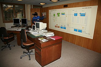 Water purification - Control room and schematics of the water purification plant of Lac de Bret, Switzerland