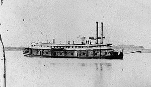 "The USS Naiad (Tinclad #53) on the Western Rivers during the American Civil War, reproduced as a stereograph. Note mine-clearing ""rake"" projecting from her bow."