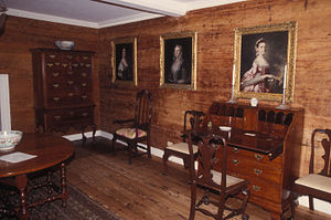 Verdmont - Interior showing part of the portrait collection and Bermuda cedar panelling