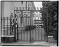 VIEW OF THE EAST SIDE, NORTH CARRIAGE GATE - Hibernian Hall, 105 Meeting Street, Charleston, Charleston County, SC HABS SC,10-CHAR,88-14.tif
