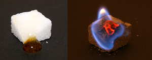 Catalysis - Left: Partially caramelised cube sugar, Right: burning cube sugar with ash as catalyst