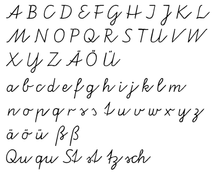German alphabet, elementary school handwriting program in some West German states Vereinfachte Ausgangsschrift.png