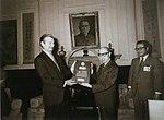 Vice President Yen Chia-kan accepts a moon rock from U.S. Ambassador Walter P. McConaughy 副總統嚴家淦接受美國大使馬康衛贈送月球岩石.jpg