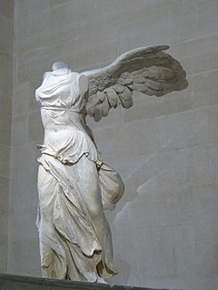 <i>Winged Victory of Samothrace</i> Statue from Samothrace, Greece in the Louvre, Paris, France