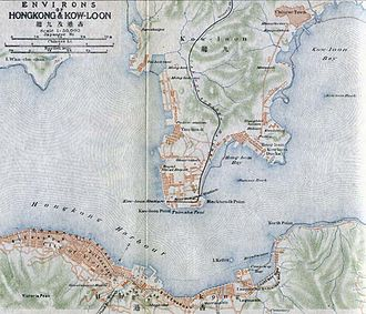 Linear settlement - A map of Victoria City (bottom) and the city of Kowloon across the harbour, of 1915