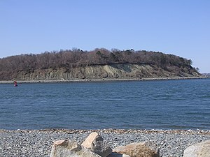 Gut (coastal geography) - View across Hull Gut in Massachusetts of the mainland, from Peddocks Island