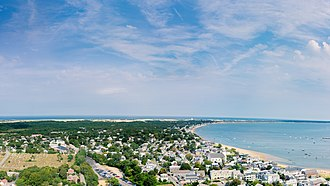 Provincetown, Massachusetts - Image: View of Provincetown from Pilgrim Monument looking east, MA, USA Sept, 2013