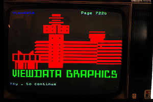 Videotex - Videotex example screen showing its graphics capabilities. As in teletext, predefined, fixed-width graphics characters in multiple colors could be used to create an image.