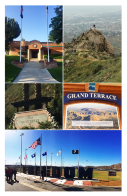 City of Grand Terrace images from top, left to right - Grand Terrace City Hall, Blue Mountain Trail, Northeast City Entrance, Historical Plaque, Veterans Wall of Freedom