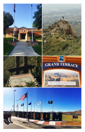 Grand Terrace, California - City of Grand Terrace images from top, left to right - Grand Terrace City Hall, Blue Mountain Trail, Northeast City Entrance, Historical Plaque, Veterans Wall of Freedom