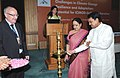 Vilasrao Deshmukh lighting the lamp at the first India-ICIMOD Day celebrations, in New Delhi. The Minister of State (Independent Charge) for Environment and Forests, Smt. Jayanthi Natarajan and the Director General, ICIMOD.jpg