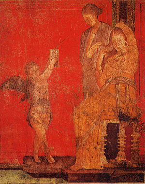 Social class in ancient Rome - A young woman sits while a servant fixes her hair with the help of a cupid, who holds up a mirror to offer a reflection, detail of a fresco from the Villa of the Mysteries, Pompeii, c. 50 BCE