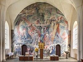 Trône de grâce, fresque de Martin Häusle (1947, église Saint-Léonard de Villach, en Autriche). (définition réelle 6414×4795)