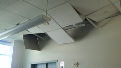 A building in McLean, Virginia sustained some damage to its ceiling. Image: Claire Schmitt.