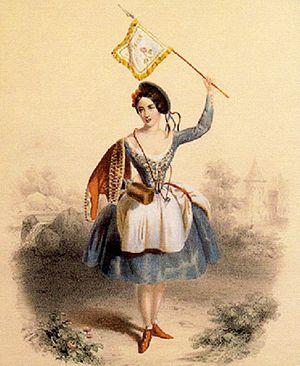 La Vivandière or Markitenka - Fanny Cerrito as Kathi in the Saint-Léon/Cerrito/Pugni La Vivandière, London, 1844
