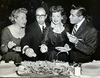 Jess Oppenheimer - Oppenheimer with Vivian Vance, Lucille Ball and Desi Arnaz at an I Love Lucy press party, 1955.