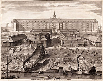 Amsterdam (VOC ship) - The shipyard of the Dutch East India Company in Amsterdam around 1750