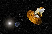 Artist's depiction of the WMAP satellite gathering data to help scientists understand the Big Bang.