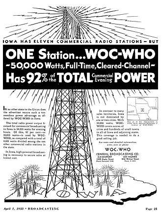WOC (AM) - Advertisement for consolidated WOC-WHO (1933)