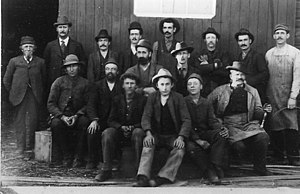 William Henry Cushing - Cushing and the staff of his lumber mill, 1894