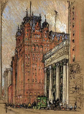 Joseph Pennell - The Waldorf-Astoria at the original location, Fifth Avenue and Thirty-Fourth Street.  Charcoal and pastel on brown paper by Joseph Pennell, c. 1904-1908.