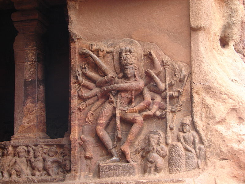 File:Wall relief of dancing Shiva at cave temple no.1 in Badami.JPG