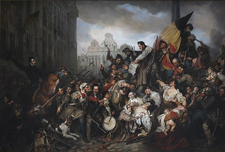 Scene of the Belgian Revolution of 1830 (1834), by Gustaf Wappers Wappers - Episodes from September Days 1830 on the Place de l'Hotel de Ville in Brussels.JPG