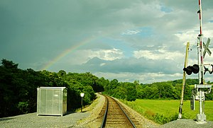 Washington County, Tennessee - Rainbow and railroad tracks near Telford
