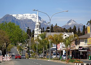 Wellington, Western Cape - Wellington CBD, with the NG Mother Church and snowy Wemmershoek Peak beyond
