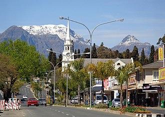 Wellington, Western Cape - Wellington CBD, with the NG Mother Church and snowy Wemmershoek Peak beyond