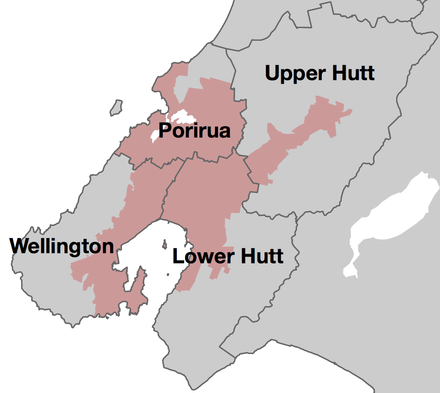 The Wellington Urban Area (pink) is administered by four city councils Wellington Urban Area.png