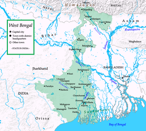 English: Map of West Bengal
