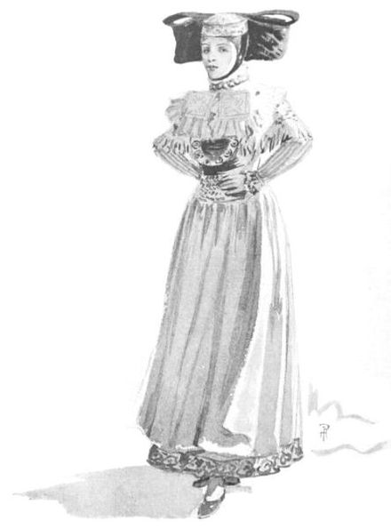 Westphalian (German) ladies peasant costume - illustration by Percy Anderson for Costume Fanciful, Historical and Theatrical, 1906. Westphalian (German) ladies peasant costume.jpg