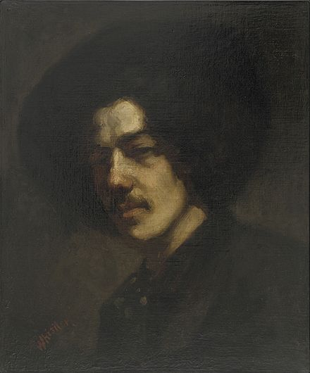 Portrait of Whistler with Hat (1858), a self-portrait at the Freer Gallery of Art, Washington, D.C. Whistler James Portrait of Whistler with Hat (1858).jpg