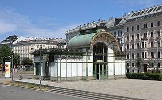 Vienna U-Bahn - Pavilion formerly used as entrance to Karlsplatz Stadtbahn Station, in Jugendstil style by Otto Wagner