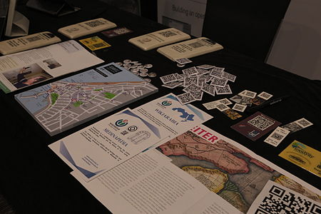 Wikimania 2014 Wikitowns Community Village stall 2.JPG