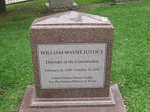 William Wayne Justice - Judge Justice's tombstone at the Texas State Cemetery in Austin, Texas