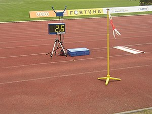 Wind indicator along run-up track in Long jump...