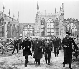 Richard Howard (priest) - Provost Howard (left) with Winston Churchill in the ruins of Coventry Cathedral, 28 September 1941