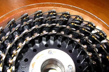 Wire brushes on the back of a drum from the rebuilt Bombe. WireBrushesOnBombeDrum.jpg