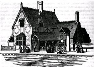 Woburn Sands railway station - Woburn's cottage-type station building, in an 1852 illustration