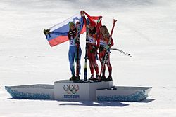 Women's downhill, 2014 Winter Olympics, podium.jpg