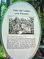 Wonsees, Felsengarten Sanspareil, Fels der Liebe und Pansitz, Plaque.jpg