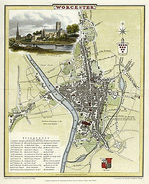 Worcester - Map of Worcester in 1806