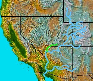 Virgin River - The Virgin River, a tributary of the Colorado, is shown highlighted on a map of the southwestern United States